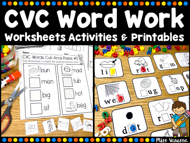 Short Vowel CVC Worksheets And Printables