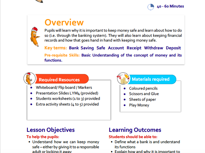 Looking After Your Money Lesson Plan for KS1