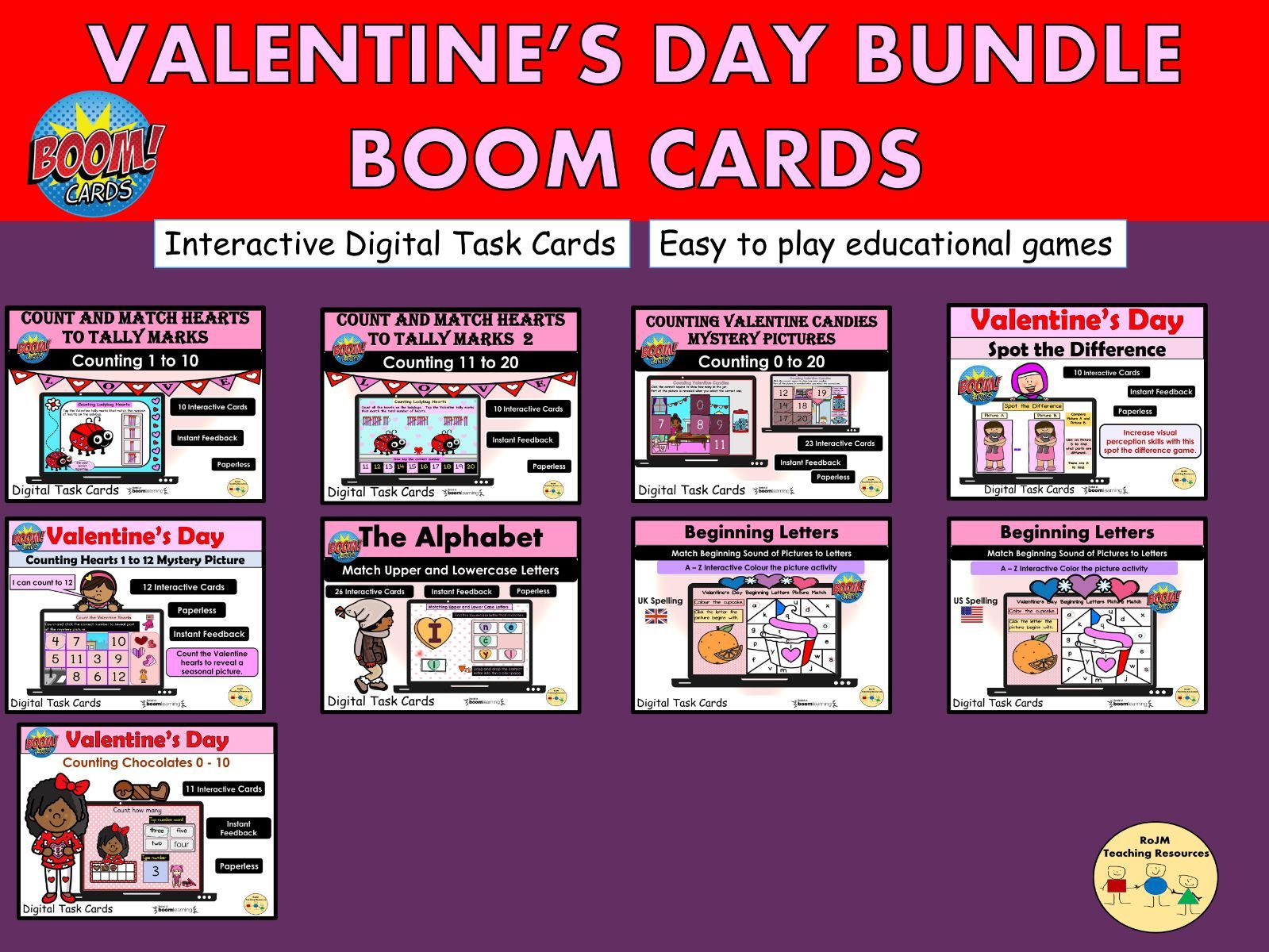 Valentines Day Bundle Maths Literacy BOOM Cards ™ Home and Distance Learning