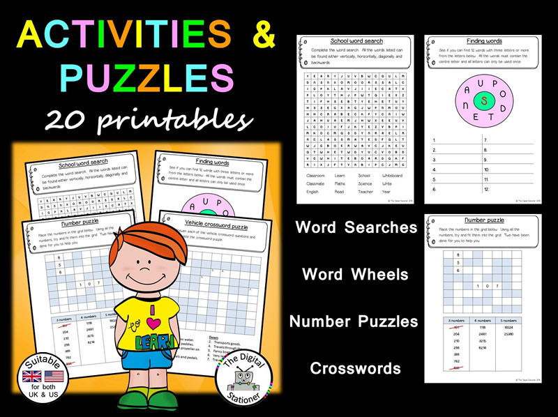 End of Year Activities and Puzzles (suitable UK/US) – 20 assorted puzzles