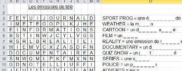 French wordsearch with types of TV programme