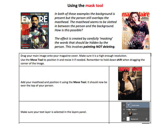 5 Photoshop skills handout - magazine covers and contents pages