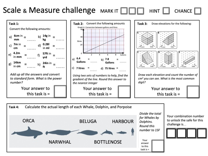 Crack the Code: Scale and Measure (converting units, elevations, and actual length) - with solutions