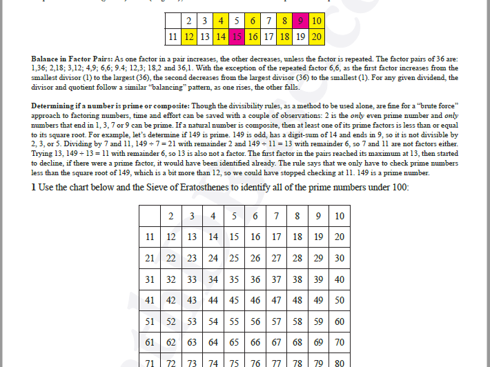 Basic Algebra Worksheet 5b - Prime & Composite Numbers - The Sieve of Eratosthenes