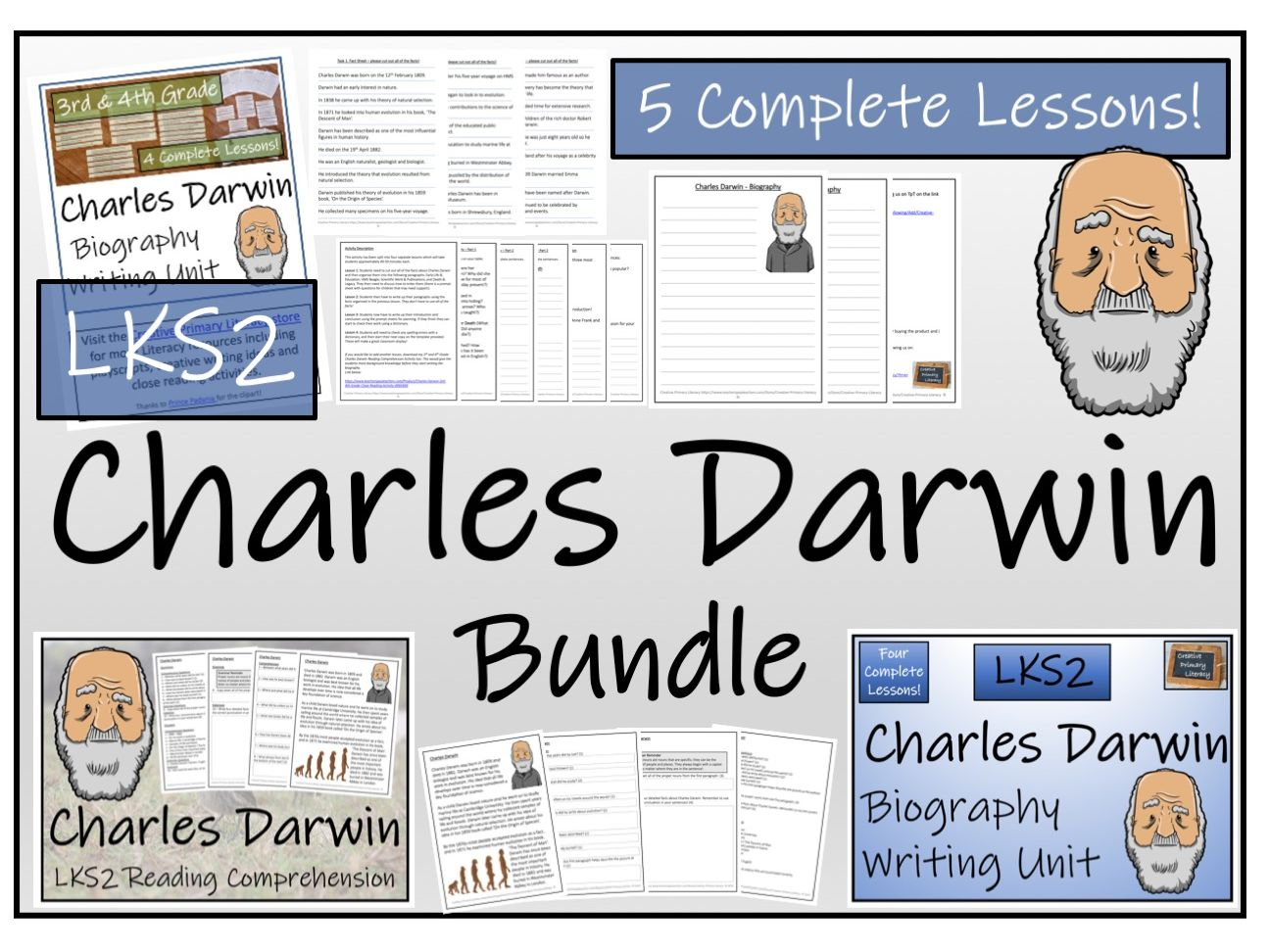 LKS2 Science - Charles Darwin Reading Comprehension & Biography Writing Bundle