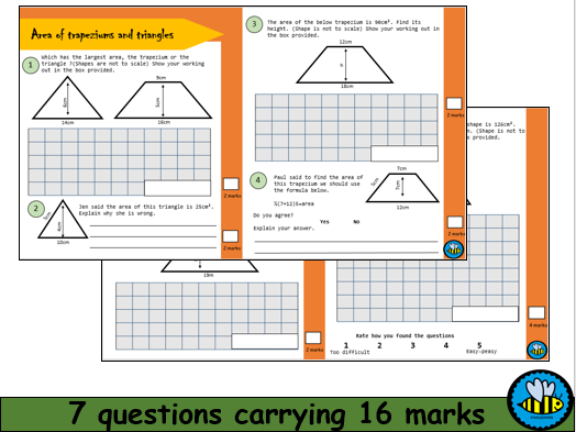 Area of Triangles and Trapeziums Worksheets