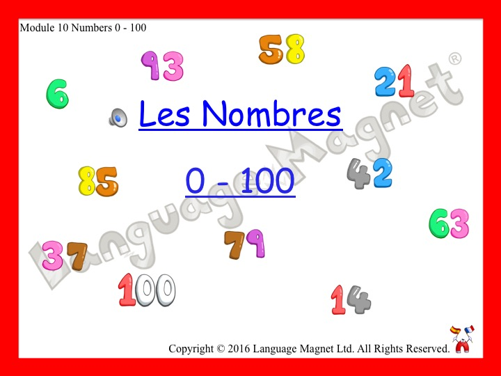 French Numbers 0 to 100 Presentation, Display Cards, Reference Sheet & Bingo Grid