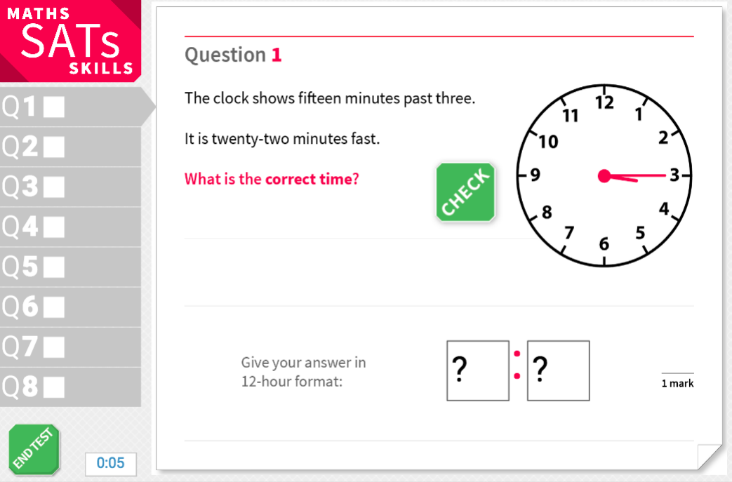 Convert between analogue and digital time - KS2 Maths Sats Reasoning - Interactive Exercises