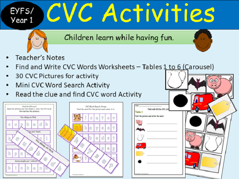 Phonics CVC Words: Activities, Picture Cards, Find and Colour, Read/Write - Reception/Year 1