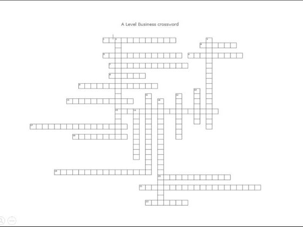 AQA A-Level Business revision crossword