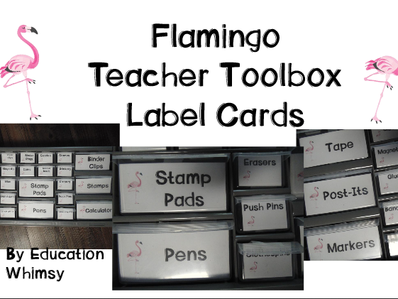 Flamingo Teacher Toolbox Label Cards