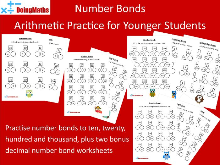 Number Bonds Practice - Arithmetic Worksheets Set