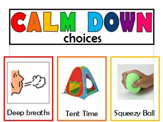 Calm Down Choices Board