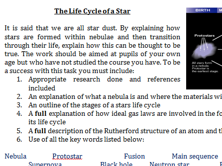 Life Cycle of a Star Formative Assessment