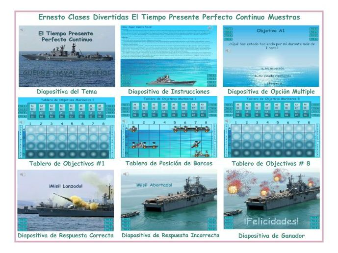 Present Perfect Continuous Tense Spanish PowerPoint Battleship Game