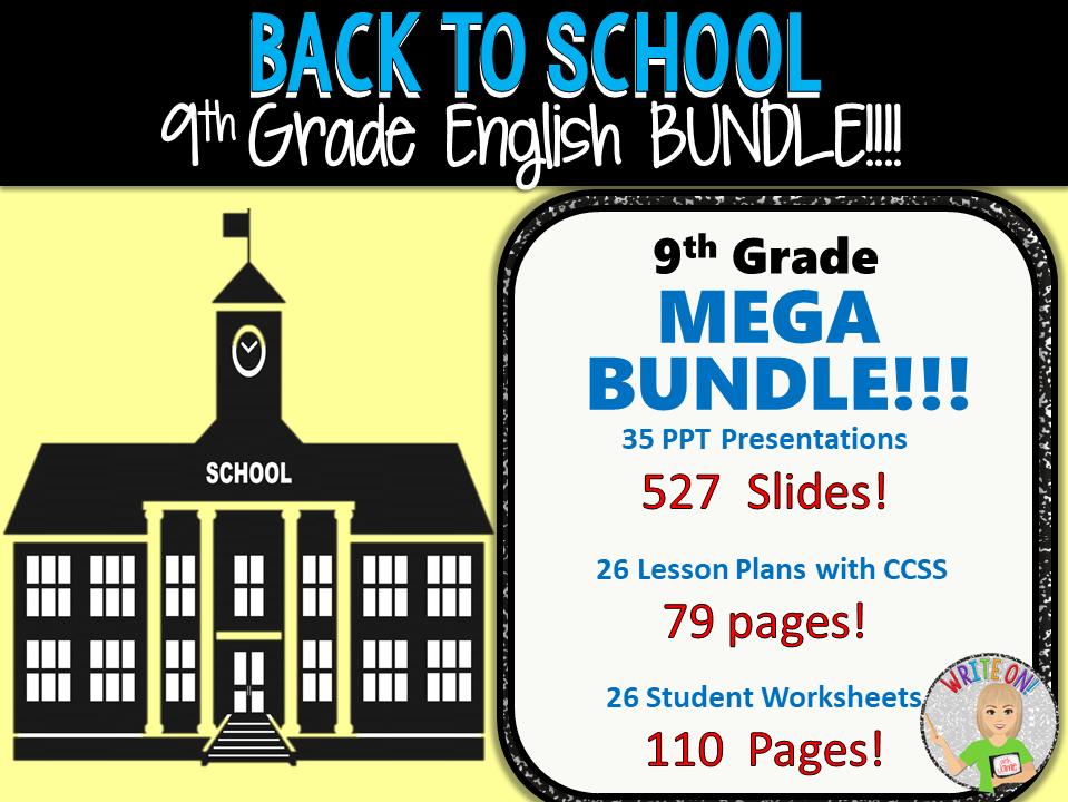 WRITING & GRAMMAR - BACK TO SCHOOL ENGLISH BUNDLE!!! - 9th Grade