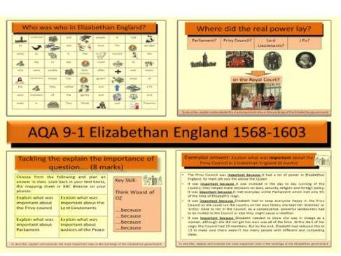 AQA GCSE 9-1 History Elizabethan England 1568-1603: Elizabethan Court and Government