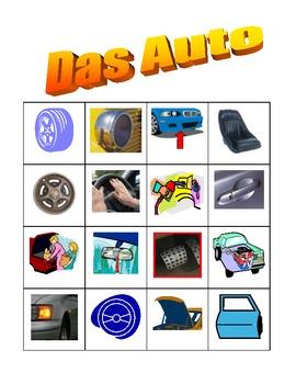 Car parts in German Bingo game