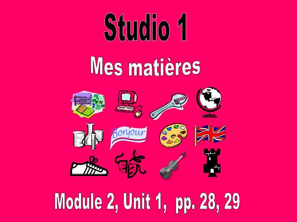 Studio 1, Module 2, Mes matières, pp. 28, 29