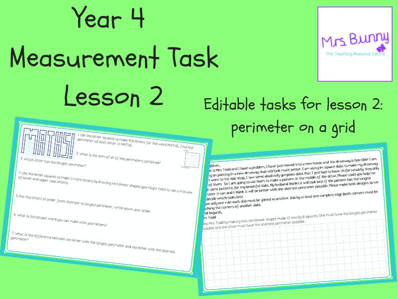 2. Measurement: perimeter on a grid tasks (Y4)