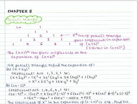 AS Pure Maths notes- Chapter 8 (The binomial expansion)