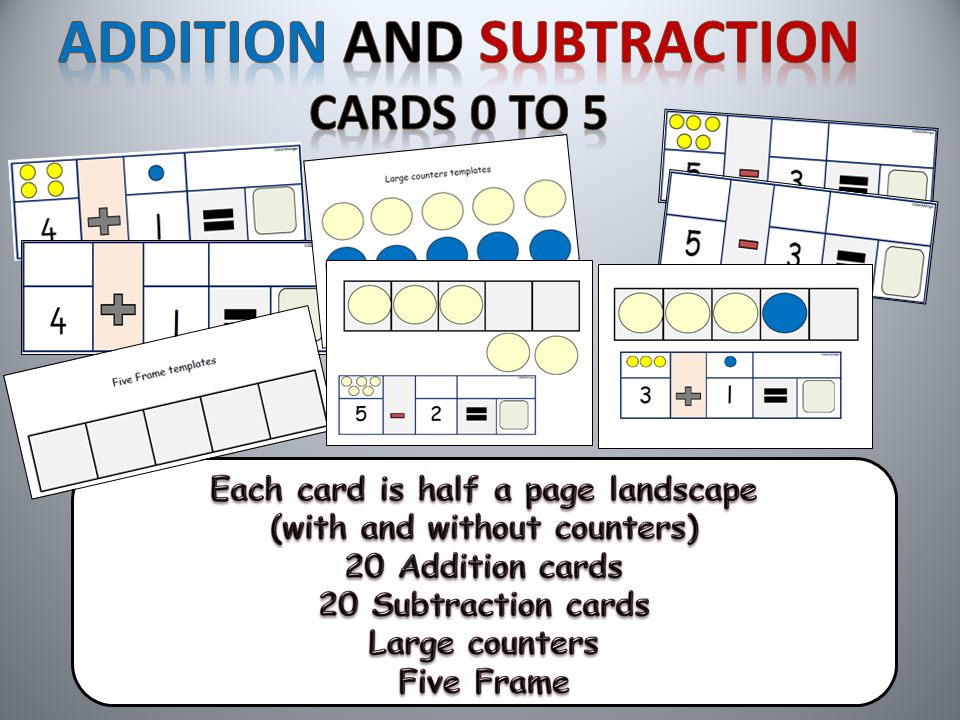 Addition and Subtraction Practical Activities, Numbers 0 to 5, Five ...