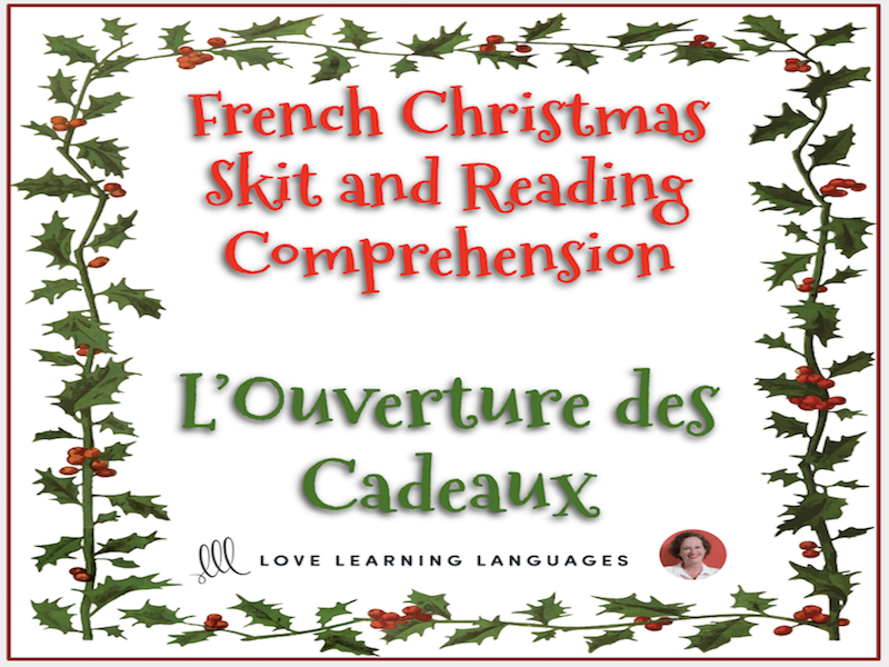 French Christmas skit and reading comprehension - Noël - Mini-dialogue - L'Ouverture des Cadeaux
