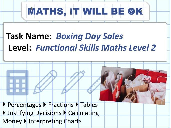 FS Maths Level 2 Money Boxing Day Sales Exam Style