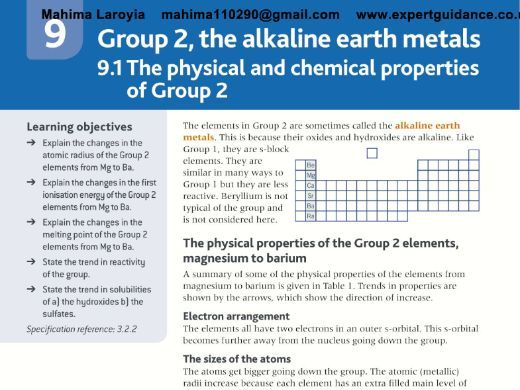 AQA AS Chemistry Year 1 and AS 2nd Edition 9 Group 2,the Alkaline Earth Metals Revision Videos,Notes