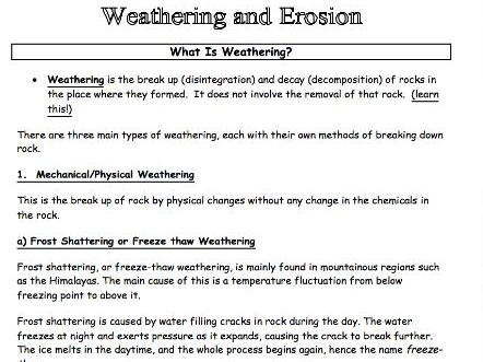 Weathering Erosion Information Pack Worksheet Ideal For Class