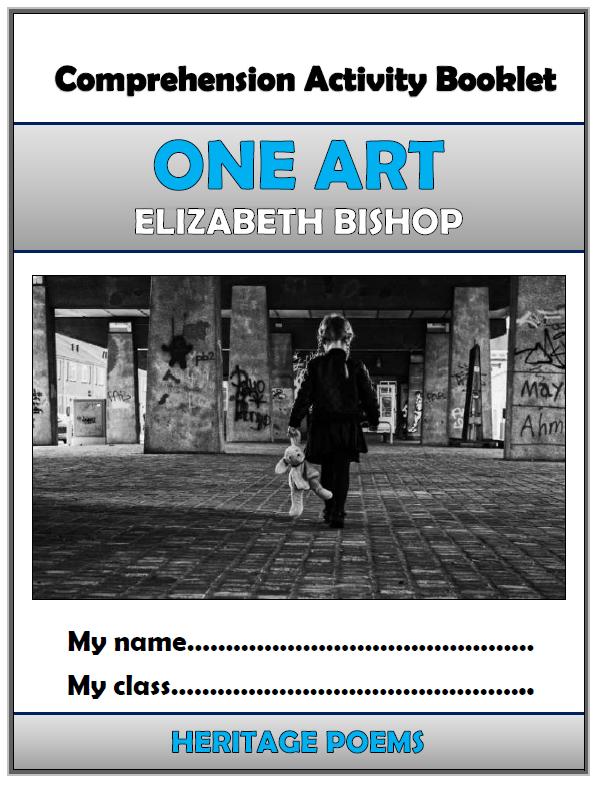 One Art Elizabeth Bishop Comprehension Activities Booklet