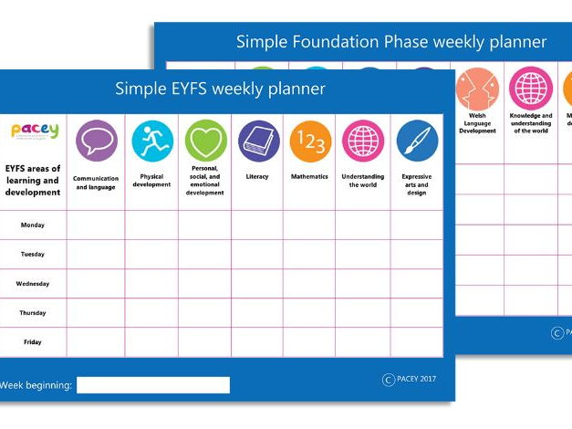 Areas of Learning and Development ¦ Simple weekly planner