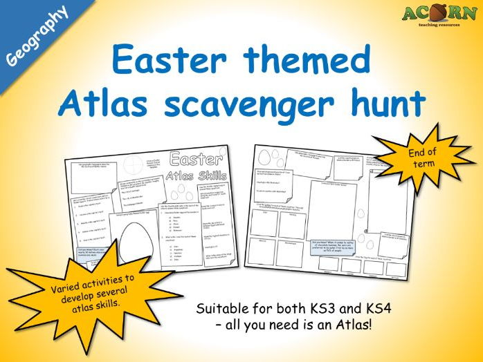 Geography - Easter Atlas Skills (scavenger hunt activity sheet)