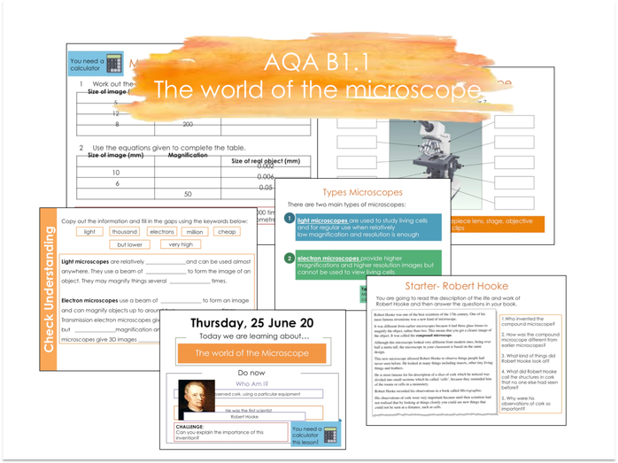 B1.1 The world of the Microscope  AQA 9-1 Lesson- No Prep