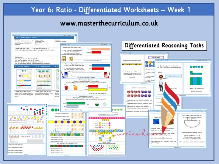 Year 6 - Spring Week 1- Ratio - Differentiated Worksheets- White Rose Style