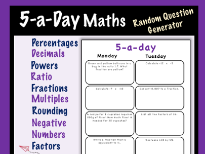 Maths 5-a-day Worksheet Creator
