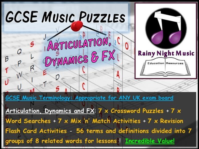 GCSE MUSIC TERMINOLOGY PUZZLES – ARTICULATION, DYNAMICS AND FX – SUITED TO ALL UK GCSE MUSIC SPECS