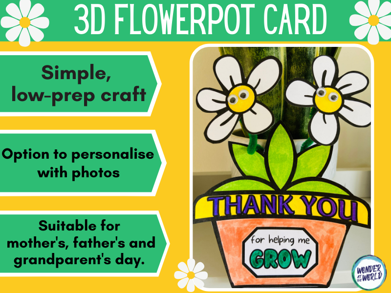 Thank you for helping me grow 3D card (mother's day, father's day, grandparents)