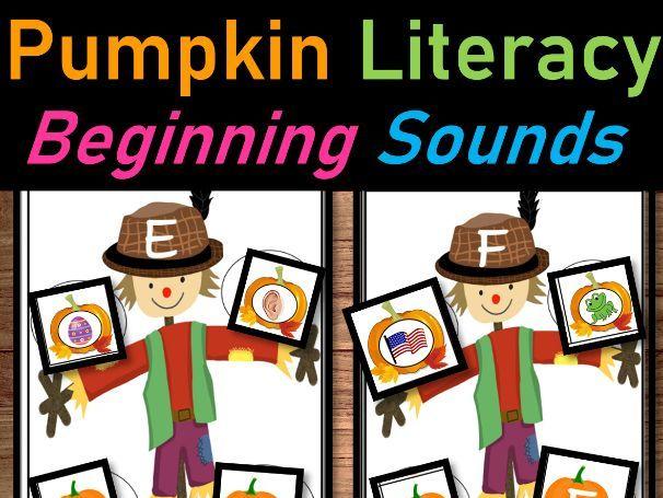 Pumpkin Literacy Centers for October   Pumpkin Beginning Sounds and Letter Match