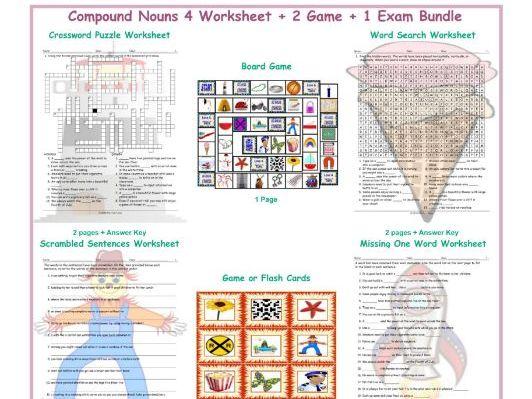Compound Nouns 4 Worksheet-2 Game-1 Exam Bundle