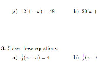 Linear equations with brackets and the variable in both sides worksheet (with solutions)