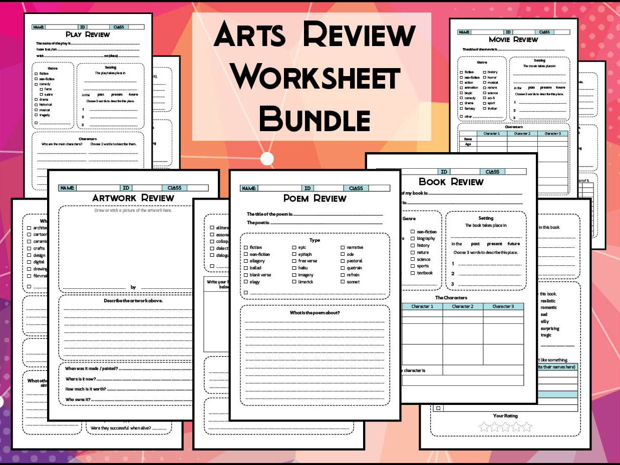 Arts & Literature Review Worksheet Bundle