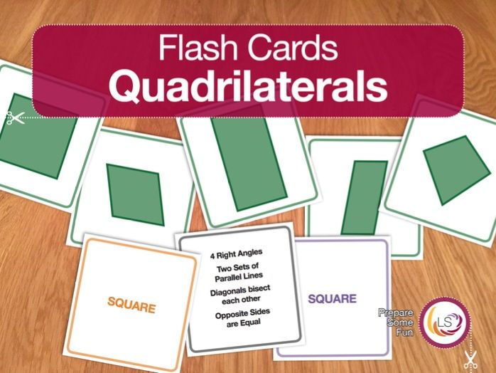 Properties of Quadrilaterals Flash Cards