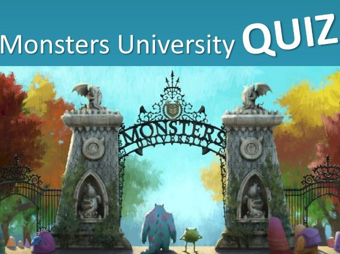 Monsters University Multiple Choice Quiz Game - Grades 2-3 - PowerPoint