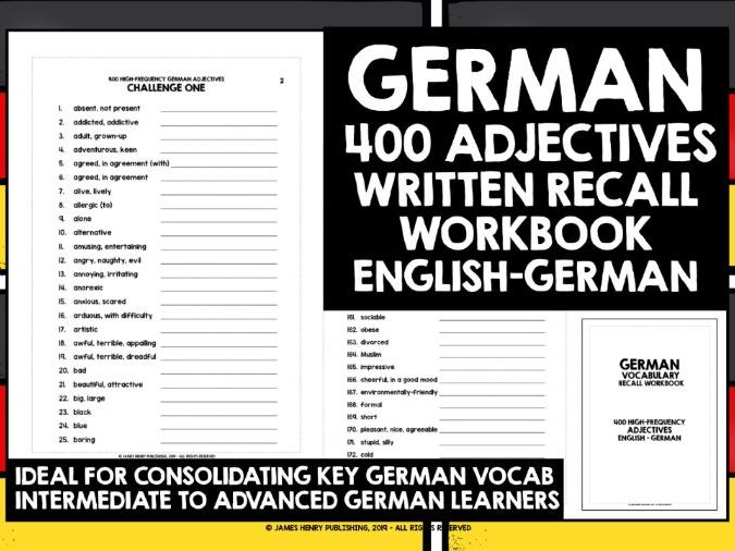 GERMAN ADJECTIVES RECALL WORKBOOK #3