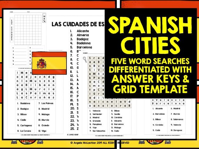 SPANISH CITIES WORD SEARCHES