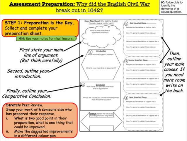 Assessment Preparation: Why did the English Civil War break out in 1642?