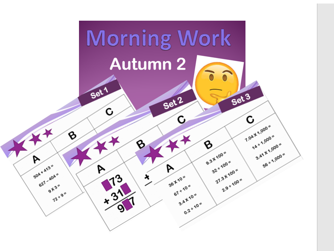40 sets of arithmetic starters/morning work for year 5 and 6 with answers UKS2 4 operations maths