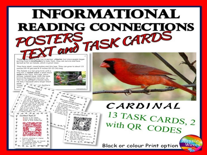 Reading Non-Fiction Informational Text and Task Cards BIRDS CARDINALS
