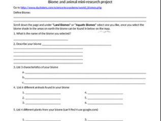 Biome and animal mini-research internet project